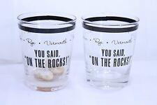 """Joke Bar Glasses """"YOU SAID, ON THE ROCKS!""""  Rocks in the Glass Set of Two"""