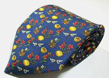 Salvatore Ferragamo Animal Floral Blue Color Silk Necktie Tie Made In Italy