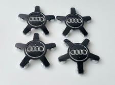 4 x Audi Alloy 5 Star Spyder Wheel Centre Caps Black Hub Badge 135mm A3 A4 A5 A6