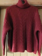 Ladies dark rust chunky, cable, polo neck jumper by Primark.  Size S