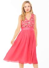 French Connection Embellished Bodice Tulle Peach Pink Midi Dress Size UK 8 US 4