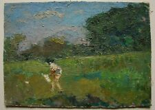Russian Ukrainian Soviet Oil Painting Impressionism child catching of butterfly