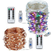 USB 5-20M 50/100/200LED Twinkle LED String Fairy Lights Copper Wire Party Remote