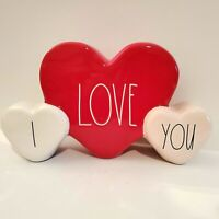 Rae Dunn Valentine's Day I LOVE YOU Red White Pink Heart Tabletop Decor 2021 New