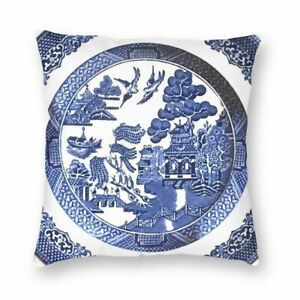 2x Blue Willow Cushion Covers Home Decoration