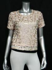 MAISON JULES NWT Fresco Pink Lace/Sequins Stretch Keyhole Back Blouse sz M $79