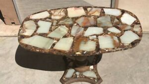 Vintage 1960s/1970s Epoxy Resin Retro Sliced Cut Agate Abolone Shell Rock Table