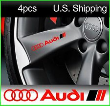 4 AUDI Stickers Decals Door handle Wheels Rims Mirror Racing RED