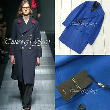 Gucci Men Runway Pure CASHMERE Double Breasted Fitted Long Suit Coat Size L 50