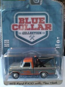 GREENLIGHT 1/64 SCALE 1973 FORD F-100 TOW TRUCK BLUE COLLAR SERIES 7 CHASE