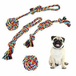4 Piece Rainbow Rope Dog Set Puppy Toys For Teeth Cleaning Chewing Treats Toy