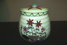 RARE HAND PAINTED LIVING ART GEORGETTE CERAMIC POTTERY CANISTER COOKIE JAR