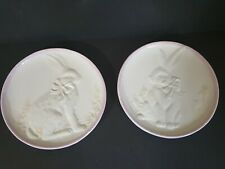 White & Lavender Dolomite Raised Impressions Hare Rabbit Bunny Salad Plates