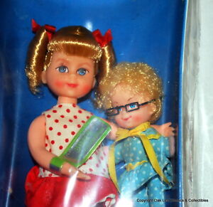 "Buffy & Mrs. Beasley 6"" Doll Set from Family Affair 1967 NRFB Very bright!"