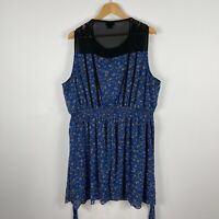 City Chic Womens Dress XL Plus Blue Floral Sleeveless Round Neck Elastic Waist