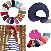 Foldable Straw Summer Sun Beach Visor Women Wide Ladies Cap Roll Brim Hat Up A