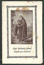 estampa antigua de San Antonio Abad santino holy card image pieuse