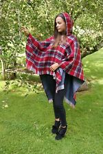 Ladies Hooded Tartan Poncho LW1000