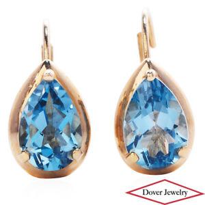 Estate 2.00ct Blue Topaz 14K Gold Elegant Pear Lever Back Earrings NR