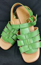 Bandolino Sandals 6.5 N Fits 5.5 Green Italian Leather Strappy Vintage