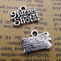 15pcs Word Charms Nurses Call THE Shots Silver Beads Pendants DIY Jewelry
