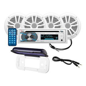 BOSS Audio MCK508WB.64S Marine Receiver with Cover & Full Range Speakers, 2 Pair