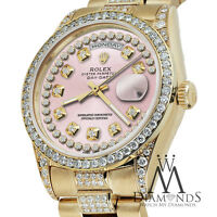 Rolex Presidential Day Date 18KT Yellow Gold Pink String Diamond Accent Dial