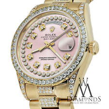 Rolex Presidential Day Date Pink String Dial Diamond Watch 18 KT Yellow Gold