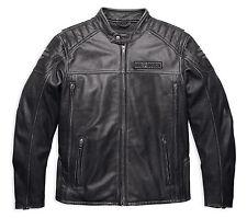 Harley Davidson Hombre a Mitad de Camino Envejecido Gris Carbón Chaqueta Cuero