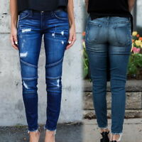 Womens Skinny Ripped Pencil Stretch Denim Jeans Pants High Waist Trousers NG2009