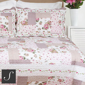 Luxury Patchwork Quilt Blush Pink Floral Country Double King Size Bedspread Set