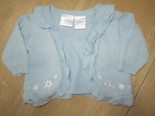 Infant Girls Blue KOALA BABY Ruffle Open Cardigan Sweater 100% Cotton 3-6M - NWT