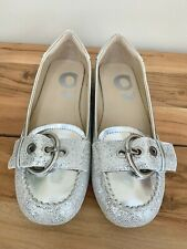 NINE WEST Women's Silver Glitter Flats NKADELINA Slip On Shoes Size 5