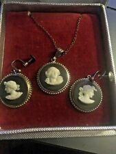 SET 3 Vintage Wedgwood Cameo Black Jasperware Sterling Silver Necklace Earrings!