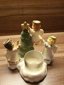 Party Lite Teelichthalter - Drei kleine Engel - bunt Porzellan Rarität