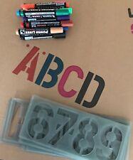 100mm Alphabet Stencil Numbers Symbols Signwriting Kit + 12 Parmanent Marker
