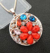 Red Resin Crystal Flower Heart Pendant Betsey Johnson Long Necklace