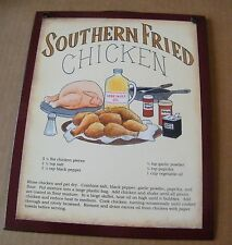 9x11 Wood Country Kitchen Southern Fried Chicken Recipe Wooden Decor Sign