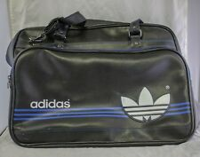 Vtg Adidas Black Blue Duffel Bag Faux Leather Three Stripes