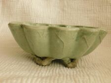 ANTIQUE CHINESE CELADON pottery OVAL LOTUS BOWL with twig feet