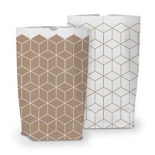 itenga 50x Geschenktüten Bodenbeutel Muster Geometrie Gastgeschenke Weiß Braun