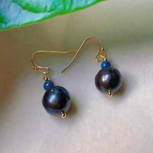 Fashion natural blue jade black Baroque round Pearl gold 18k earrings Wedding