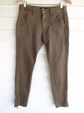 Sportsgirl Women's Brown Pants with Ankle Zippers - Size 10