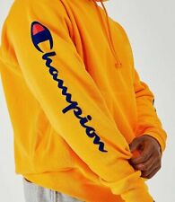 NEW CHAMPION REVERSE WEAVE GOLD BLUE FLOCK SCRIPT ARM HIT PULLOVER HOODIE SMALL