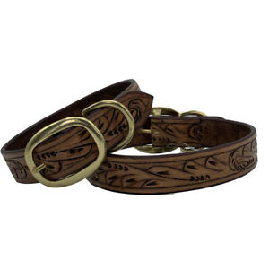 LEATHER DOG COLLAR HAND TOOLED HAND CARVED BROWN COLOR GENUINE LUXURY LEATHER