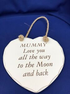 Hanging Heart Sign Plaque Fun Love to Moon & Back Vintage Mothers Day
