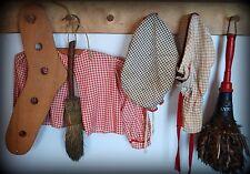 Antique primitive Red turkey feather duster laundry room decor peg rack wash