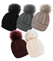 Ladies Rock Jock Cable Knit Beanie Hat With Detachable Pom Pom HAI-647