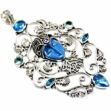 """Carved Face & Blue Topaz 180.00Cts Silver Overlay Handmade Big Pendant 4"""""""