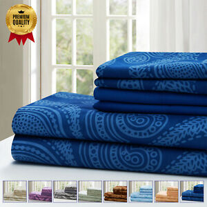 Luxury Deep Pocket 6 Piece Bed Sheet Set 1800 Count Hotel Comfort Paisley Sheets